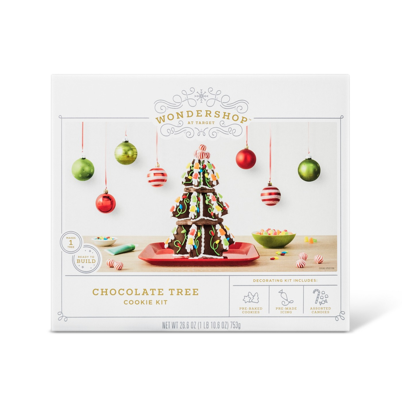 Box for chocolate Christmas tree cookie decorating kit