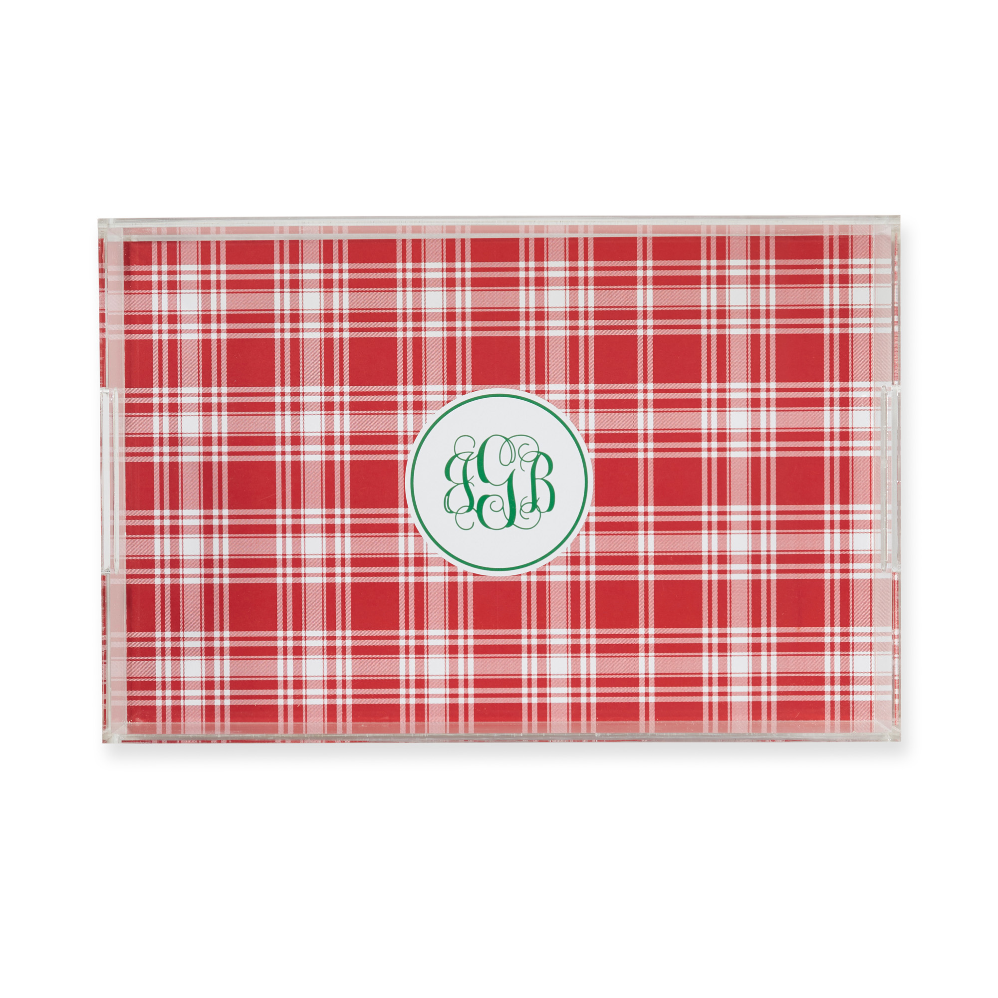 Patterned Lucite Tray with Monogram