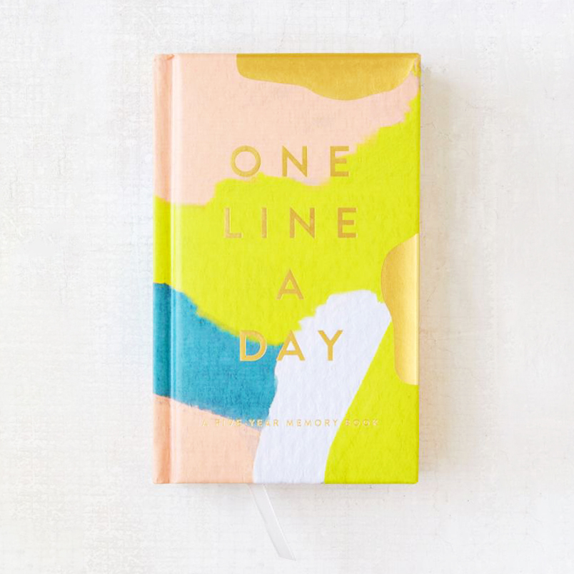 one line a day journal with hand-painted design