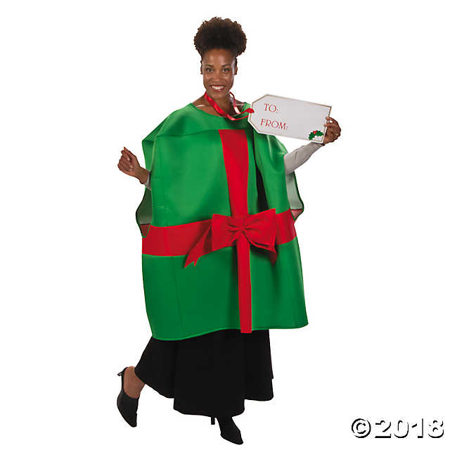 woman wearing a christmas gift costume