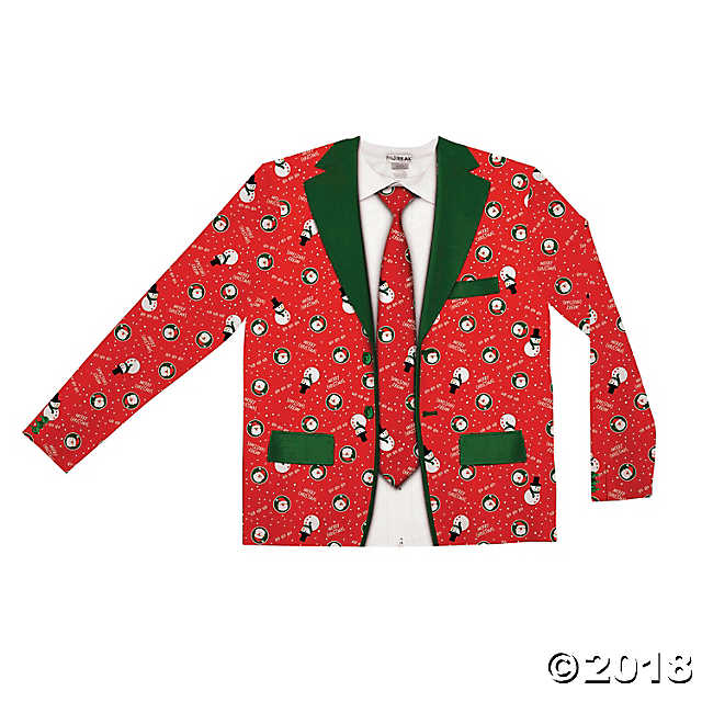 red ugly Christmas sweater Christmas suit and tie