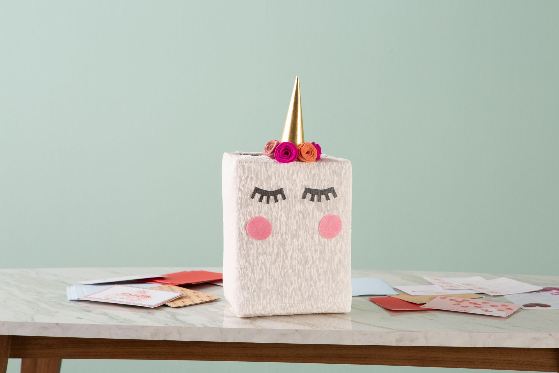 Make a Unicorn Valentine Card Box