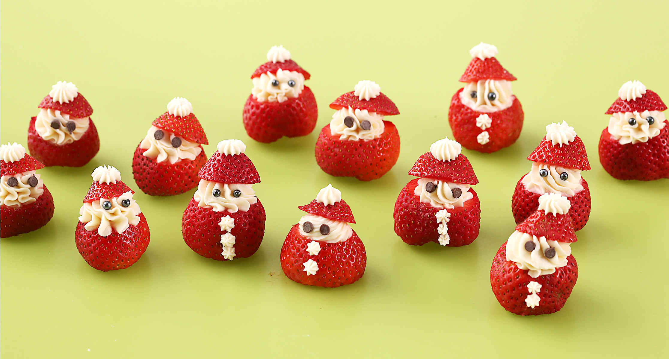 Santa Strawberries on green table