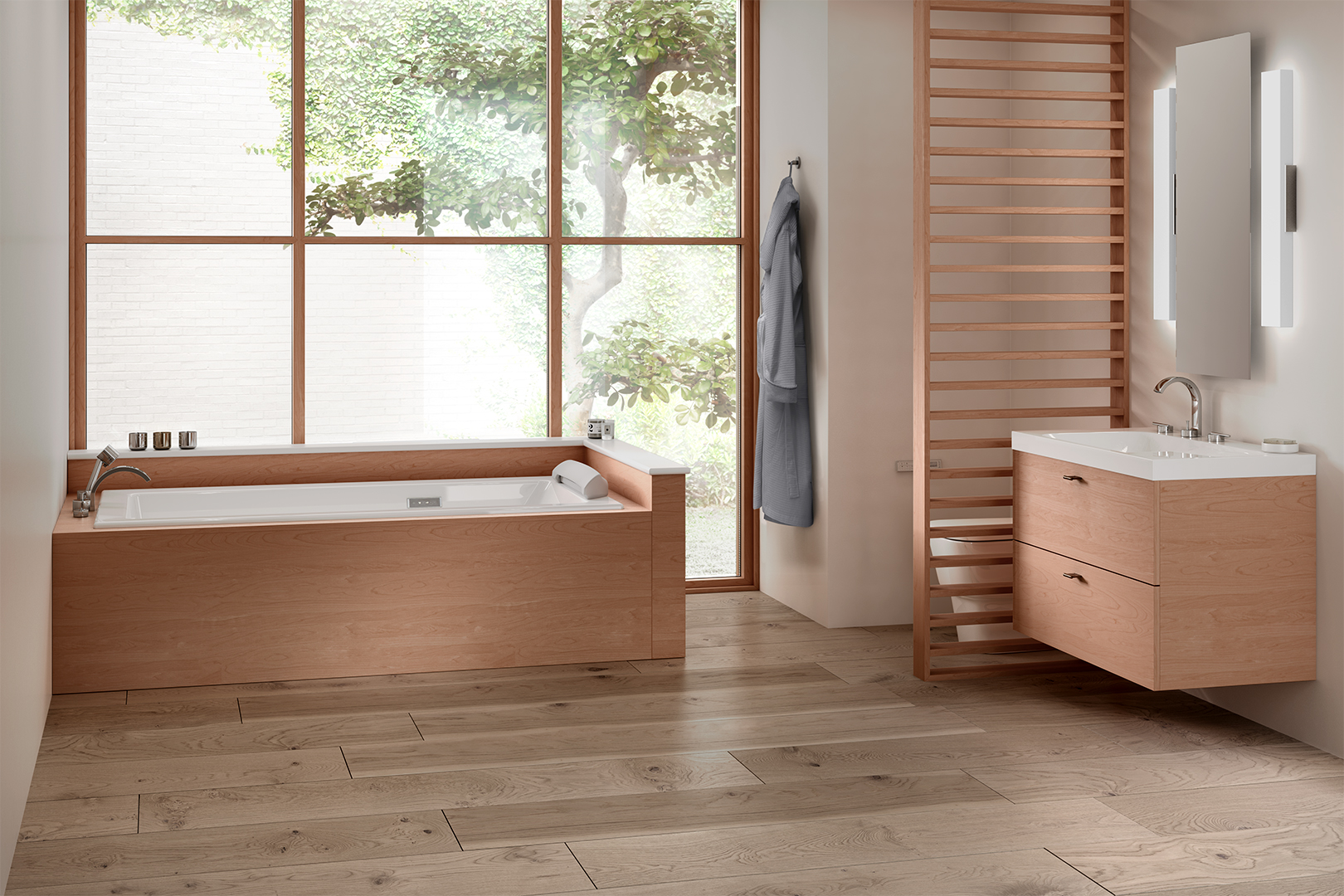 light hardwood bathroom with tree appearing through window wall