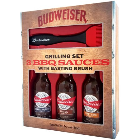 Budweister barbecue sauce grilling set of three bottles and brush from Walmart