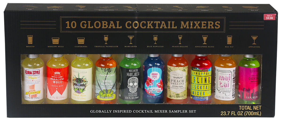 10 bottles of Global Cocktail Mixers in black box from Walmart