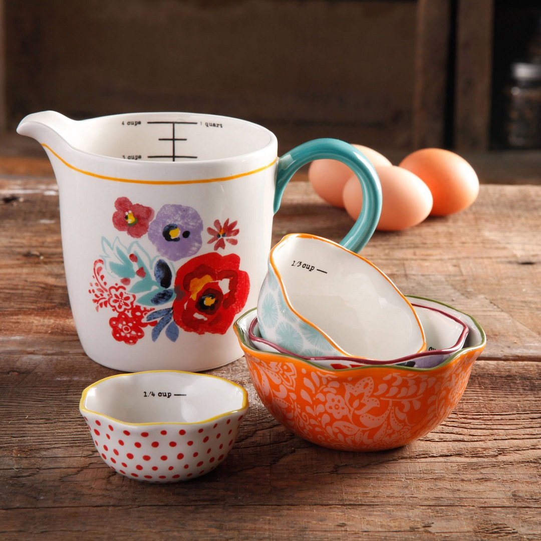 Pioneer Woman Prep Set with measuring bowls and cups on wooden table