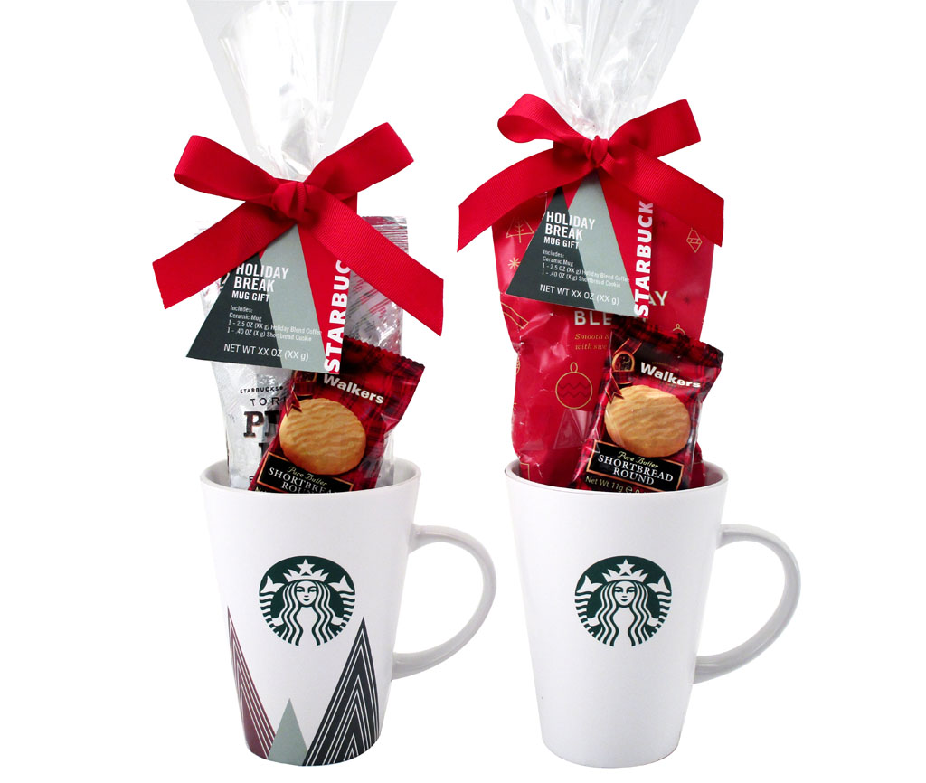 Set of two Starbucks Tazo Mugs with wafer cookies and bows