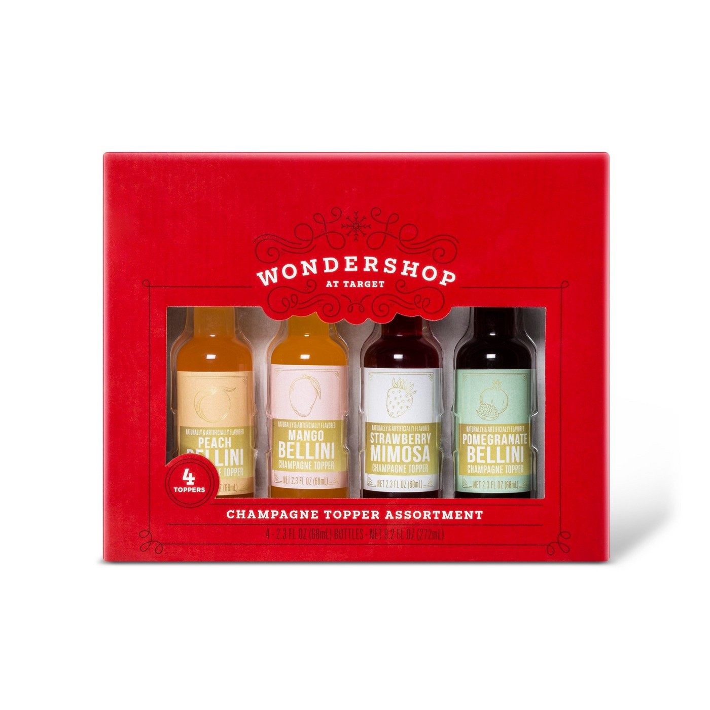 Wondershop Champagne Topper Assortment, red box filled with four bottles for mimosas and bellinis from Target