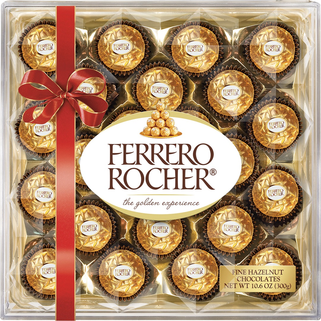 Set of 24 Ferrero Rocher chocolates wrapped in a red bow