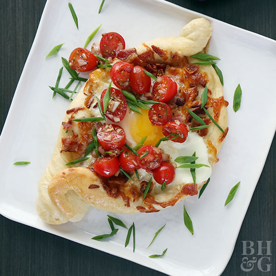 Bacon and Tomato Khachapuri (Egg and Cheese Bread)