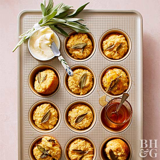 Browned Butter-Sage Cornmeal Muffins