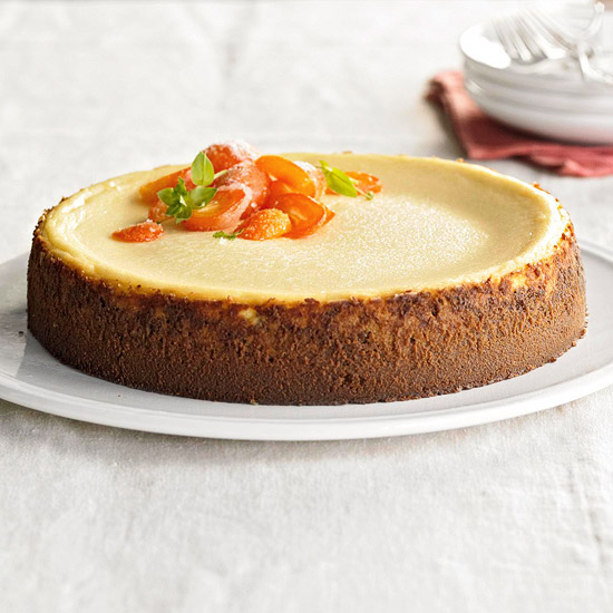 Eggnog Cheesecake with Candied Kumquats