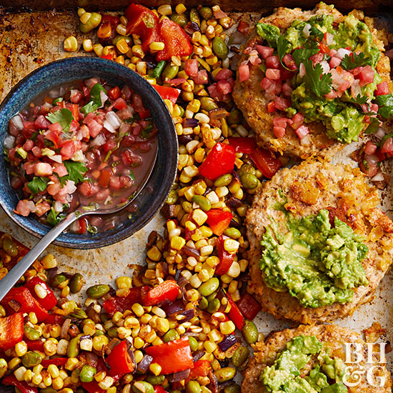 Chicken Burgers with Smoky Succotash