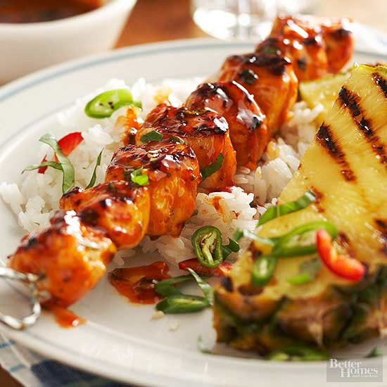 Chicken Skewers and Grilled Pineapple