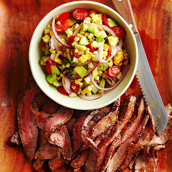 Chile Flank Steak with Grilled-Corn Pico de Gallo