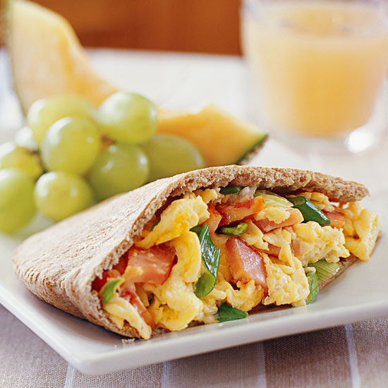 Eggs and Canadian Bacon in Pita Pockets