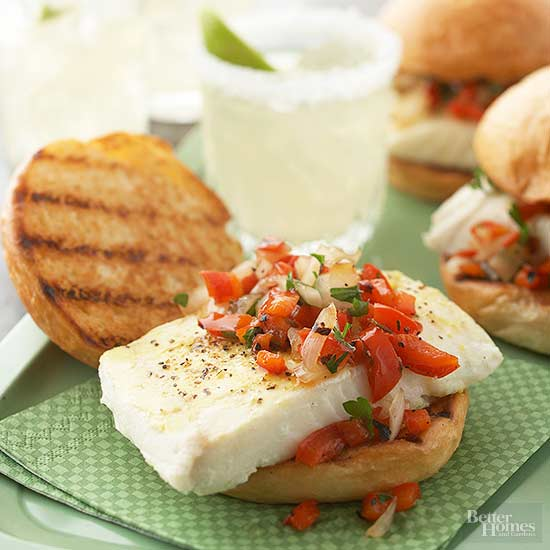 Fish Sandwiches with Red Pepper-Onion Relish