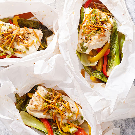Gluten Free Parchment-Baked Halibut with Asian Vegetables