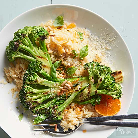 Grilled Broccoli & Orzo