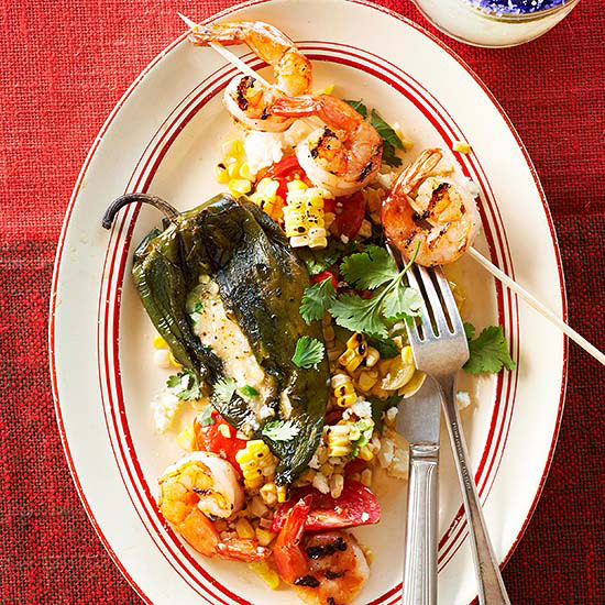 Grilled Chiles Rellenos with Mango Mojo Shrimp and Corn and Tomato Salad