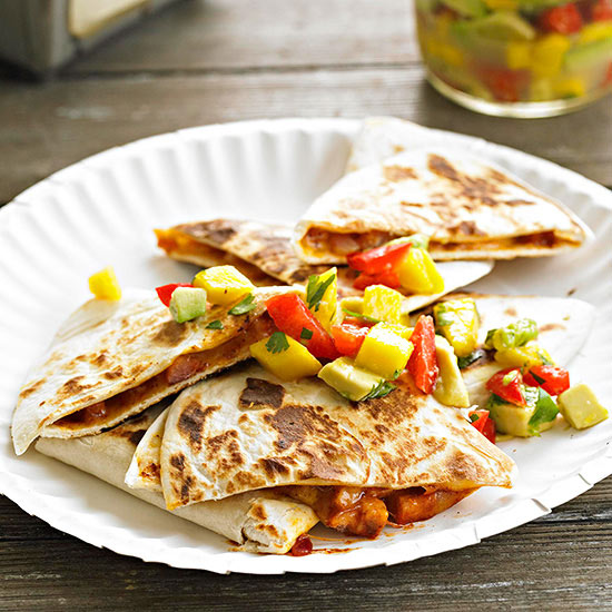Ham and Cheese Quesadillas with Mango Salsa
