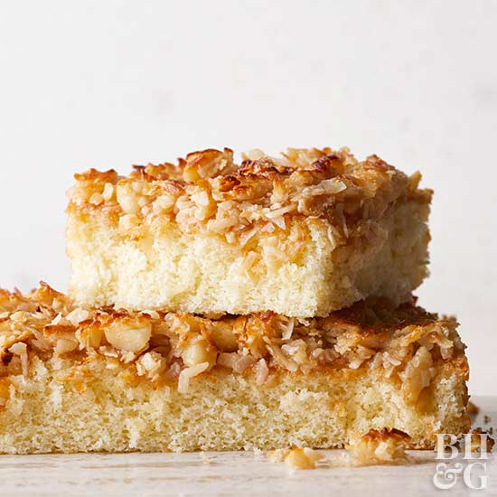 Hot Milk Sponge Cake with Broiled Coconut Topping