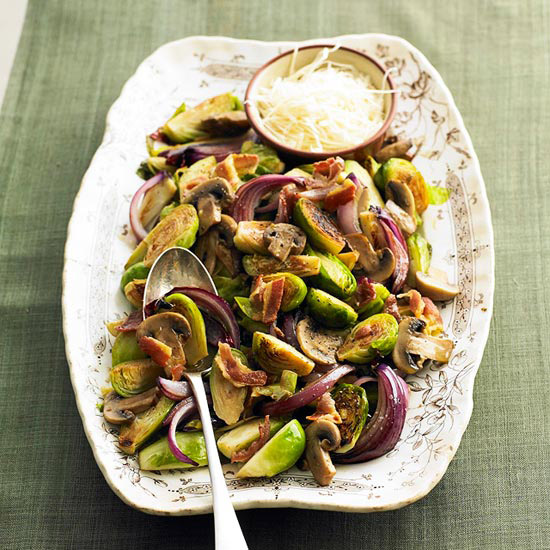 Lemony Brussels Sprouts with Pancetta and Parmesan Cheese