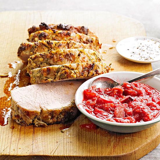 Mustard-Rubbed Pork Loin with Rhubarb Sauce