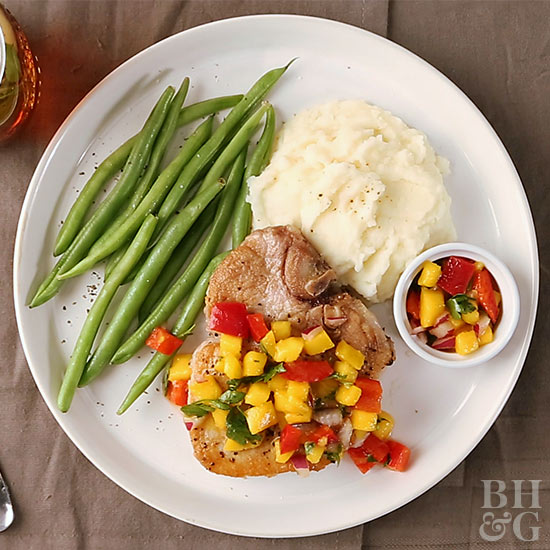Oven-Baked Pork Chops with Fresh Fruit Salsa