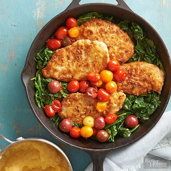 Pan-Fried Chicken with Polenta and Vegetables