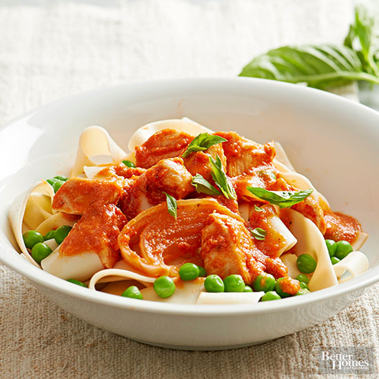 Pappardelle with Chicken and Peas
