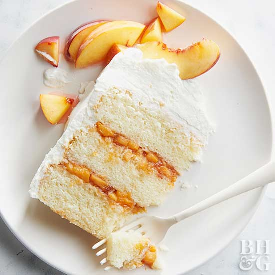 Peaches and Cream Prosecco Cake