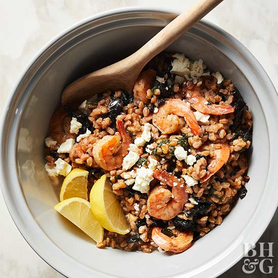 Pressure Cooker Farro and Shrimp with Cheese