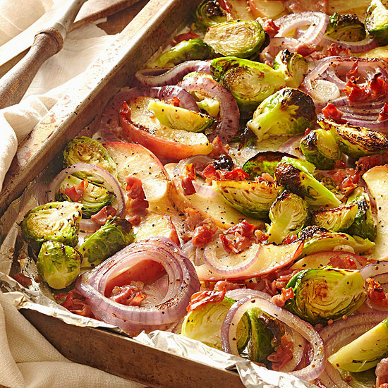 Roasted Brussels Sprouts with Apple and Pancetta