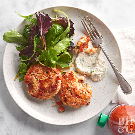 Salmon Patties with Parsley Mayo