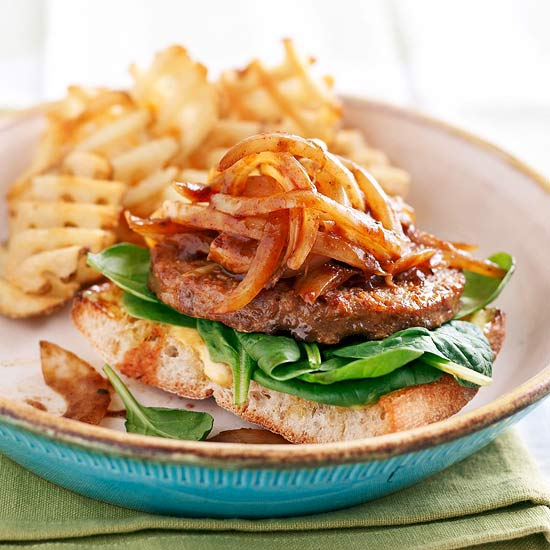 Open-Face Veg Burgers with Sauteed Onions