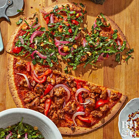Sausage and Pepper Pizza with Wilted Kale