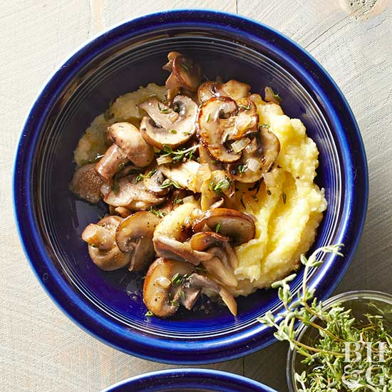 Sauteed Thyme Mushrooms over Polenta