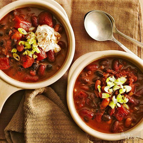 Rich & Meaty: Slow Cooker Chocolate Chili with Three Beans
