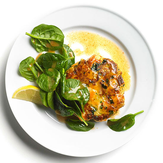 Spinach and Chile Salmon Cakes