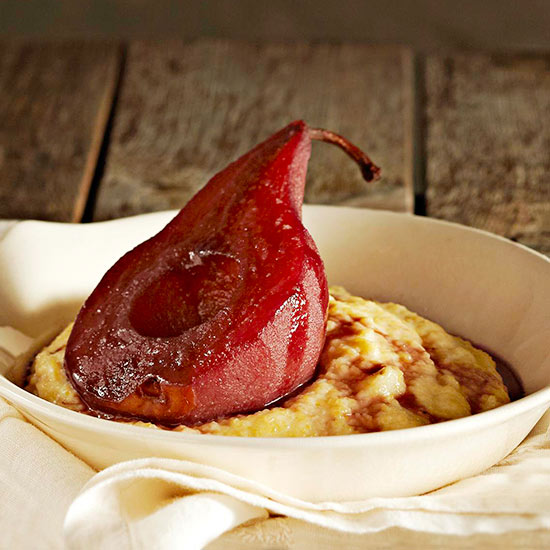 Sweet Polenta Pudding Topped with Red Wine-Poached Pears