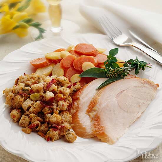 Smoked Turkey Breast with Apple Stuffing