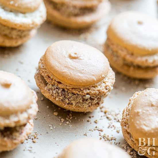 Vanilla Bean Macarons with Salted Maple-Pecan Buttercream Filling