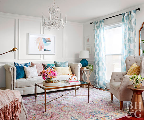 white living room full-view colorful accents