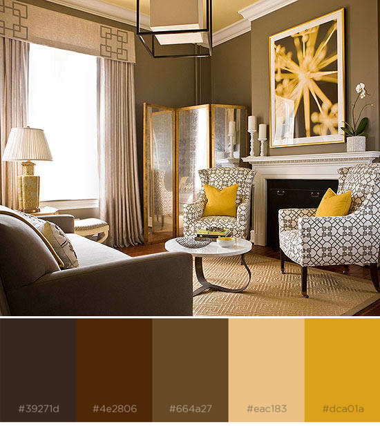 Brown And Yellow Color Combo With Swatches