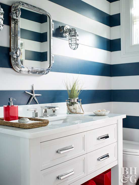 blue and white stripe wall, bathroom, white vanity