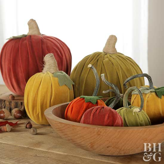 velvet pumpkins, craft, DIY