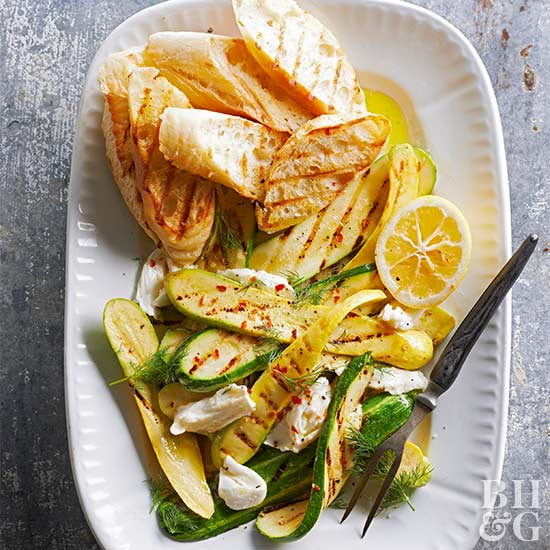 Grilled Zucchini Salad with Mozzarella and Dill