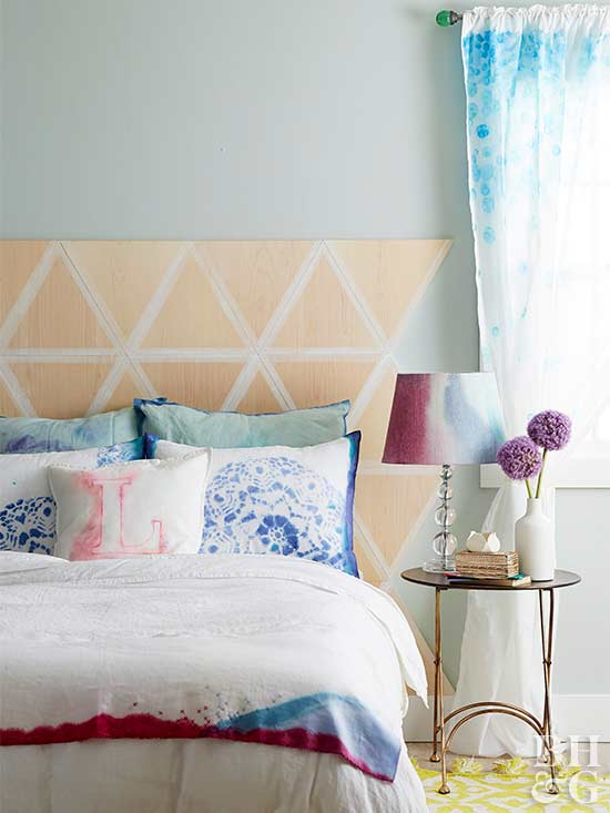bedroom with dyed fabrics